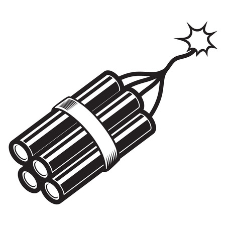 Illustration of comic style dynamite. Design element for poster, card, banner, flyer. Vector image
