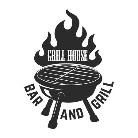 Grill house. Bbq illustration with fire. Design element for logo, label, emblem, sign. Vector image Illustration