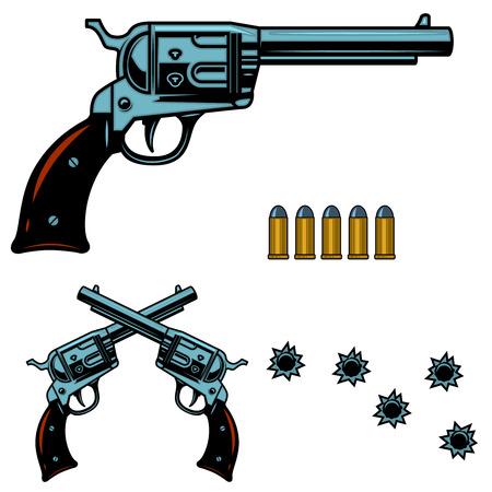 Vintage revolver illustration with bullet and bullet holes. for label, sign, badge. Vector illustration