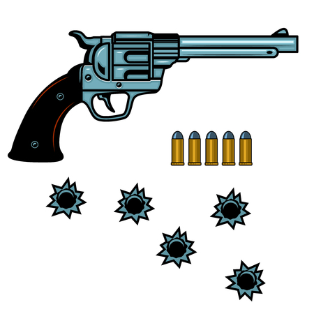 Revolver with cartridges and bullet holes. Design element for poster, card, banner, flyer. Vector illustration