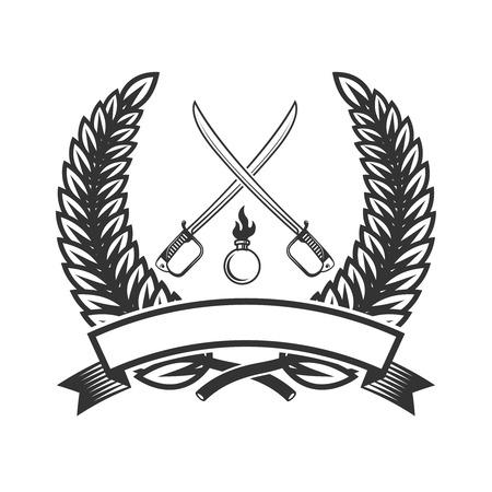 Emblem template with sabers.  Design element for label, sign.