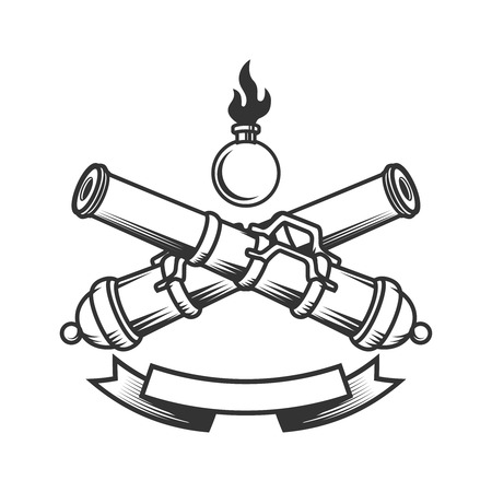 Emblem template with vintage cannons. Design element for label, sign.