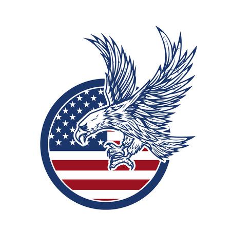 Adelaar op Amerikaanse vlag. Ontwerpelement voor label, teken.