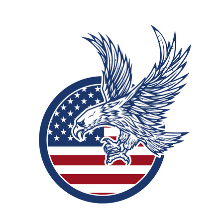 Eagle on american flag.  Design element for label, sign.