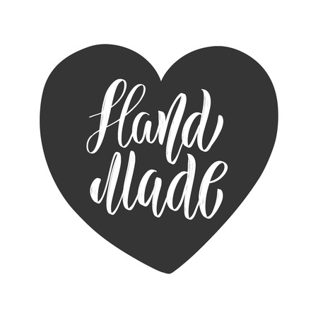 Handmade. Lettering phrase in heart shape. Design element for label, sign.