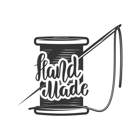 Handmade. Lettering phrase with coil of thread and needle.  Design element for label, sign. Stock Illustratie