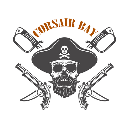 Corsair bay. Emblem with pirate skull and weapon.  Design element for label, sign. Illustration