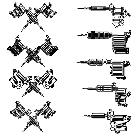 Set of tattoo machine illustrations. Design element for label, emblem, sign, badge. Vector image Illustration