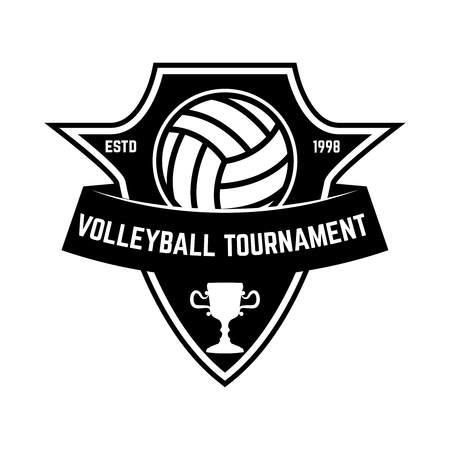 Emblem template with volleyball ball. Design element for sign, badge, label. Vector image