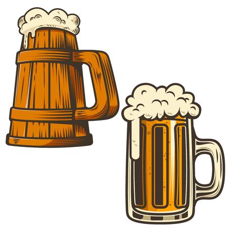 Set of beer mug illustration on white background. Design element for poster, card, emblem, sign, menu. Vector illustration