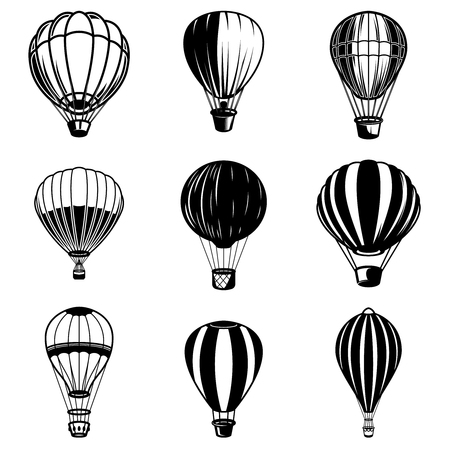 Set of air balloon illustrations. Design element for icon, label, sign. Ilustrace