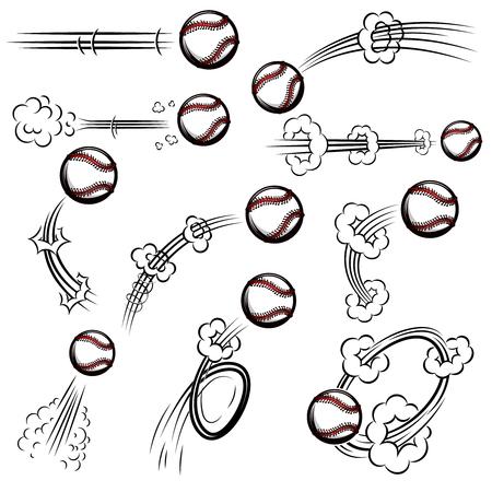 Set of baseball balls with motion trails in comic style. Design element for poster, banner, flyer, card. Vector illustration Illustration