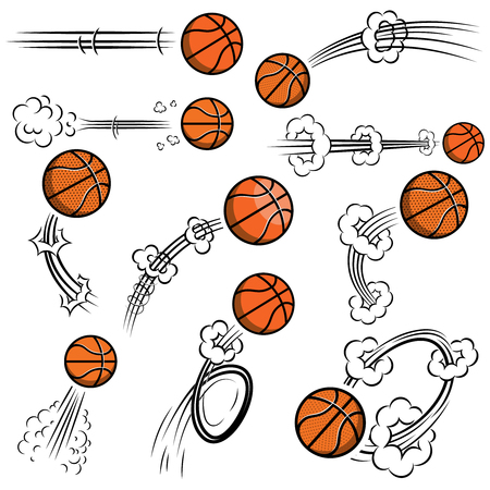 Set of basketball balls with motion trails in comic style. Design element for poster, banner, flyer, card. Vector illustration Illustration
