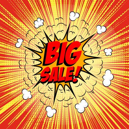 Big Sale!!! Comic style phrase on sunburst background. Design element for flyer, poster. Vector illustration.