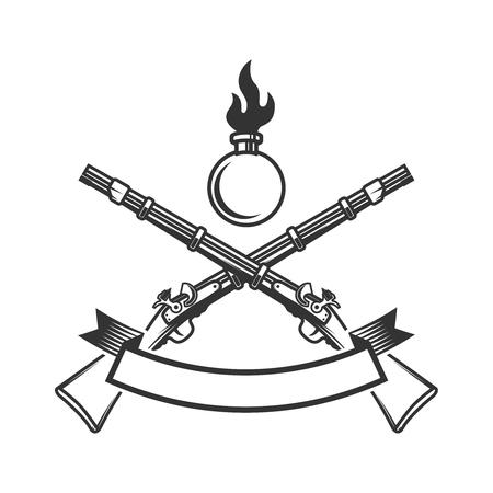 Modèle d'emblème avec fusil ancien. Élément de conception pour icône, étiquette, affiche, impression, carte, bannière, signe.