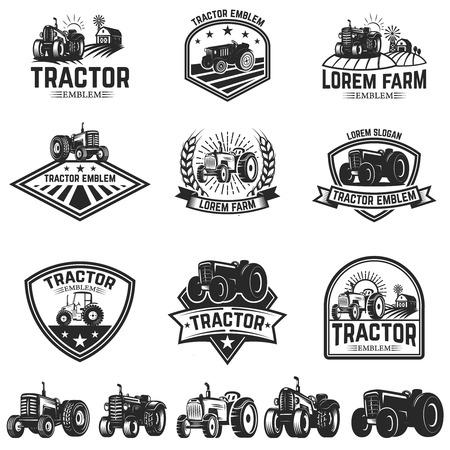 Set of tractor emblems. Design element for label, sign.