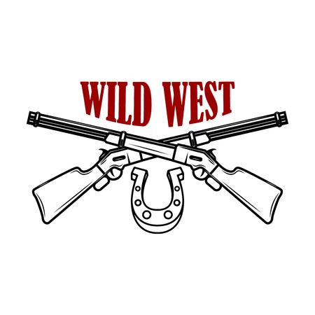 Selvaggio West. Modello di emblema con fucili incrociati. Elemento di design per etichetta, poster, stampa, carta, banner, segno.