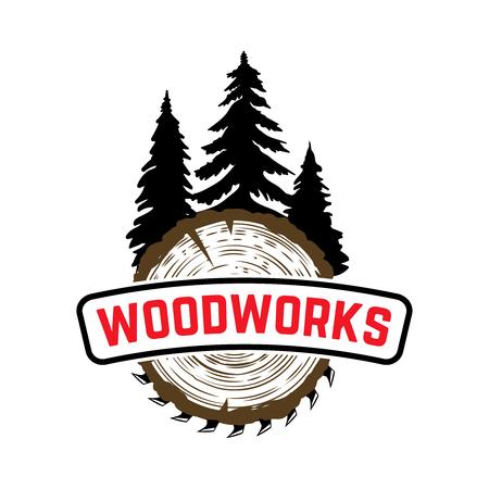 Woodworks. Emblem with trees and sawmill. Design element for label, sign. Vector illustration Illustration