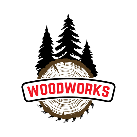 Woodworks. Emblem with trees and sawmill. Design element for label, sign. Vector illustration 向量圖像