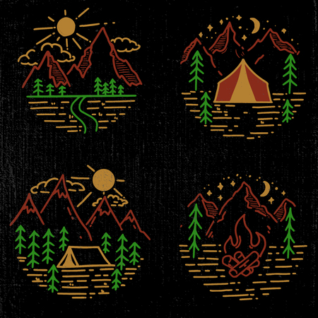 Set of hand drawn hiking and tourism emblems.