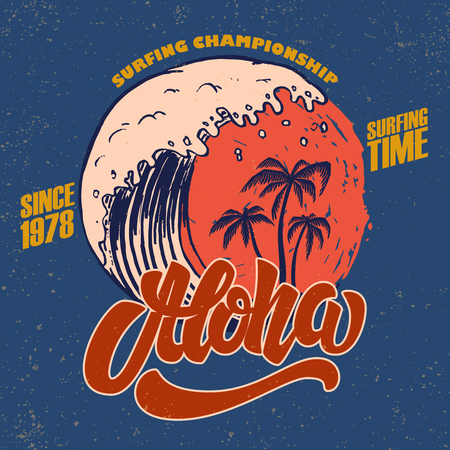 Aloha. Surfing time. Poster template with lettering and palms. Vector image