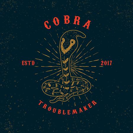 Cobra. Snake illustration on grunge background. Design element or poster, card, print, emblem, sign
