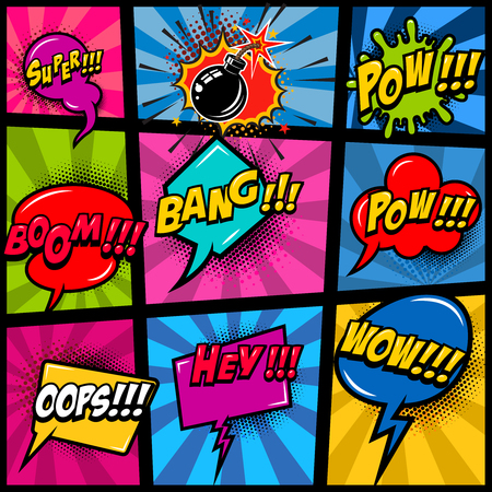 Comic page mockup with color background. pop art speech bubbles. Design element for poster, card, print, banner, flyer.