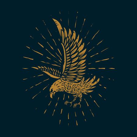 Ilustración de águila en estilo dorado sobre fondo oscuro. Elemento de diseño de cartel, tarjeta, letrero, impresión.