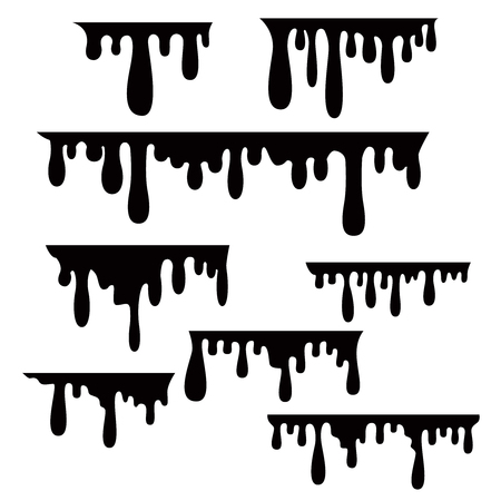 Liquid or paint drips isolated on white background. Vector image