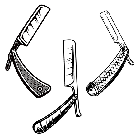 Set og retro style barber razors. Design element for poster, card, banner, sign, emblem.