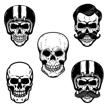 Set of skulls on white background. Cranium in racer helmet.