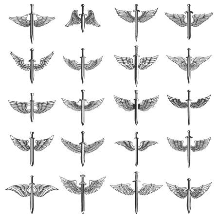 翼を持つ剣の大きなセット。