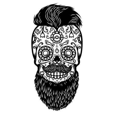 Bearded sugar skull. Design element for poster, card, print, emblem, sign. Vector image Banque d'images - 104177786