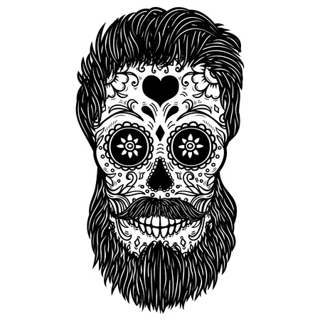 Bearded sugar skull. Design element for poster, card, print, emblem, sign. Vector image Banque d'images - 104177787
