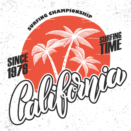 California surf rider. Poster template with lettering and palms. Vector image Иллюстрация