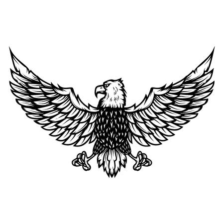 Eagle illustration on white background. Design element for poster, card, print, logo, label, emblem, sign. Vector image Illustration