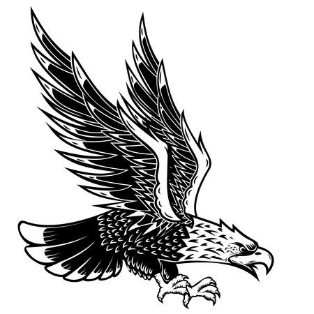 Eagle illustration on white background. Design element for poster, card, print, logo, label, emblem, sign. Vector image Ilustração