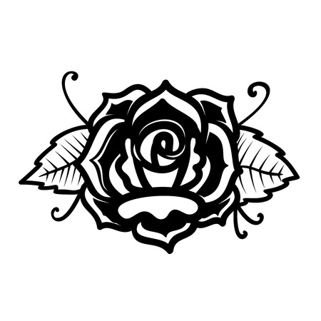 Rose illustration in tattoo style. Design element for poster, card, print, emblem, sign. Vector image