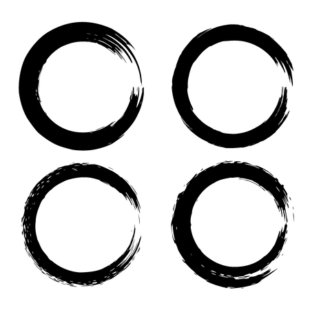 Set of black brush strokes in the form of a circle. Design element for poster, card, sign, banner. Vector illustration