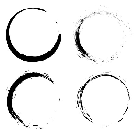 Set of black brush strokes in the form of a circle. Design element for poster, card, sign, banner.