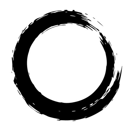 Black brush strokes in the form of a circle. Design element for poster, card, sign, banner. Vector image