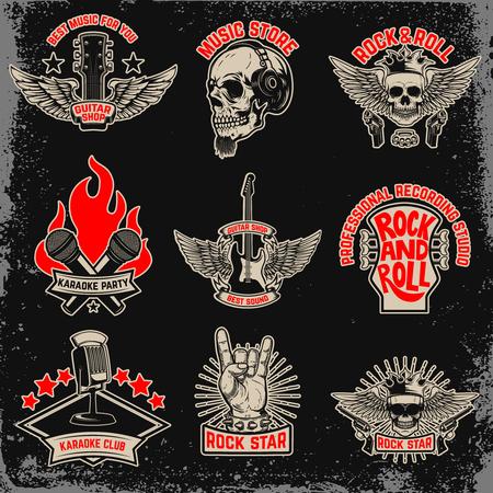 Set di festa musicale, emblemi rock. Elemento di design per logo, etichetta, emblema, segno. Immagine vettoriale