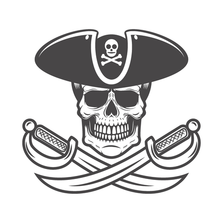 Pirate skull with crossed sabers. Design element for logo, label, emblem, sign. Vector image