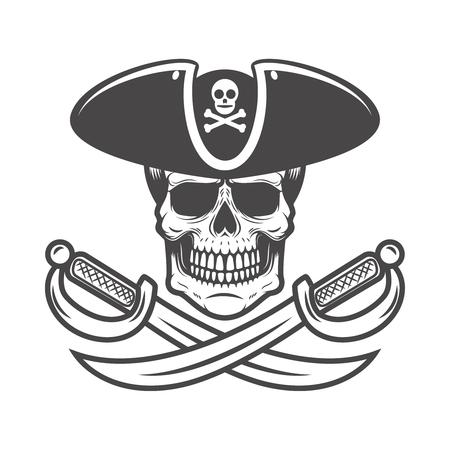 Pirate skull with crossed sabers. Design element for logo, label, emblem, sign. Vector image