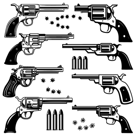 Set of revolver illustrations. Design element for logo, label, emblem, sign. Vector image