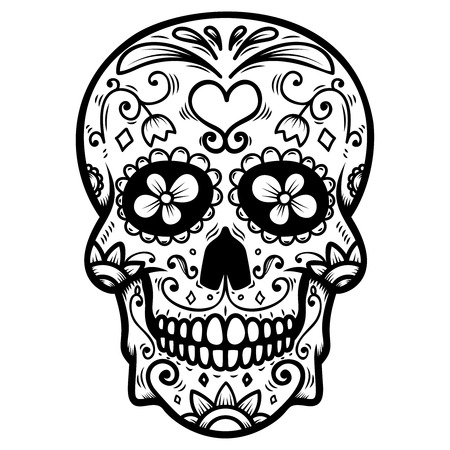 Sugar skull isolated on white background. Day of the dead. Dia de los muertos. Design element for poster, card, banner, print. Vector illustration Archivio Fotografico - 104177826