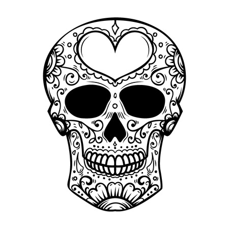 Sugar skull isolated on white background. Day of the dead. Dia de los muertos. Design element for poster, card, banner, print. Vector illustration Archivio Fotografico - 104177828