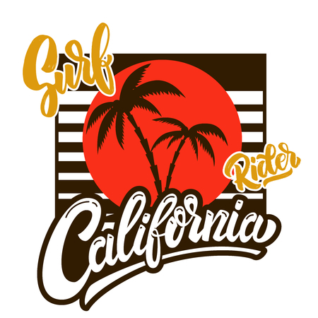 California surf rider. Poster template with lettering and palms. Vector image Illustration