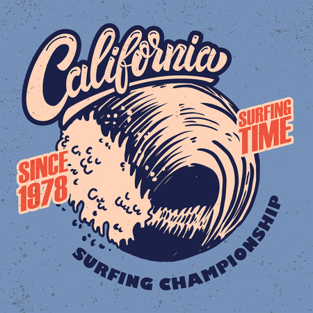 California surf rider. Poster template with lettering and palms. Vector image  イラスト・ベクター素材