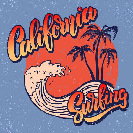 Jinete de surf de California. Plantilla de cartel con letras y palmas. Imagen vectorial